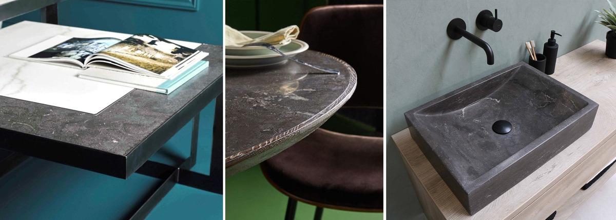 Table en pierre bleue, marbre, bois et métal