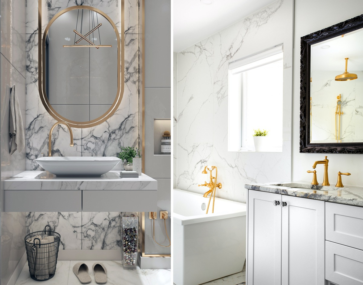 Total look marbre et salle de bain