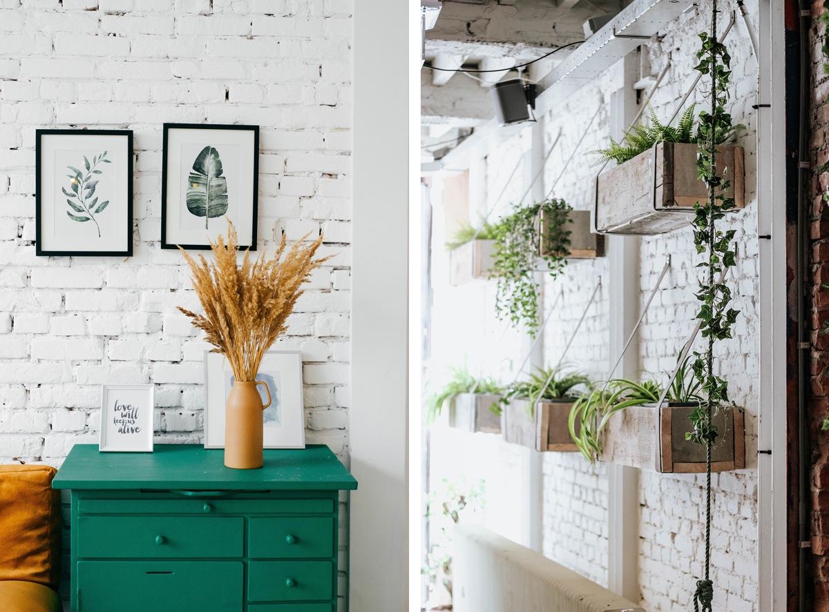 Briques peintes en blanc design bohème rénovation idées
