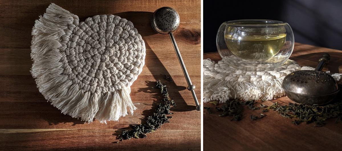 Dessous de théière en macramé crochet diy