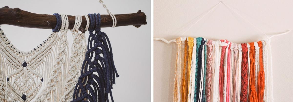 Macramé en suspension murale colorée laine et tressage bois