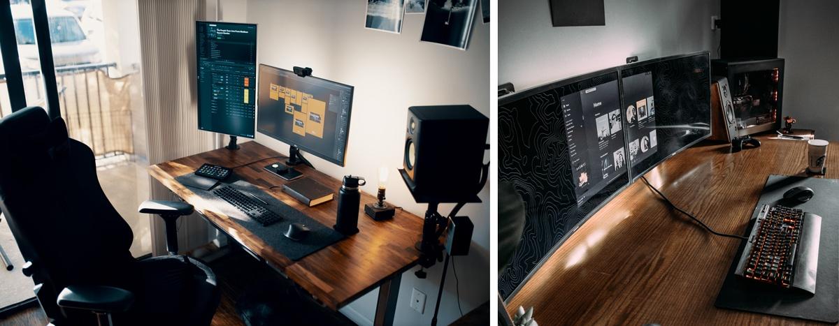 Ecrans d'ordinateur en double, poste de travail adapté