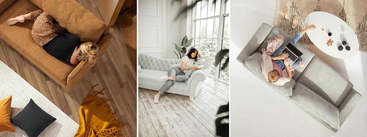 Canapé disposé en diagonale, en travers de la pièce