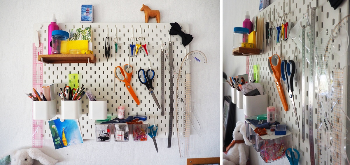 Pegboard atelier de couture organisation murale et rangements
