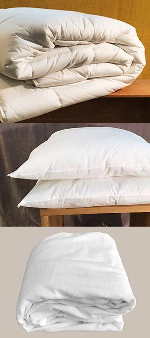 Couette, oreillers et protège-matelas