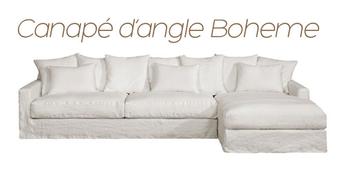 Canapé d'angle en lin Boheme