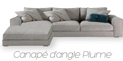 Canapé d'angle moelleux Plume