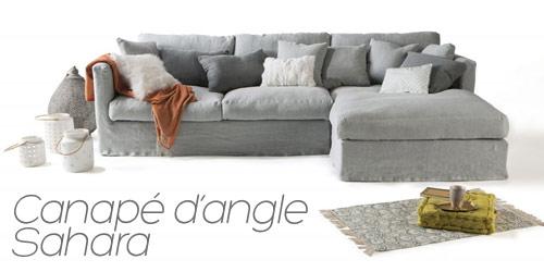 Canapé d'angle lin Sahara