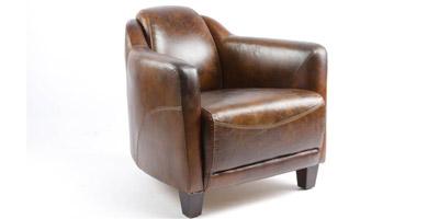 Fauteuil club vintage cuir pleine fleur marron