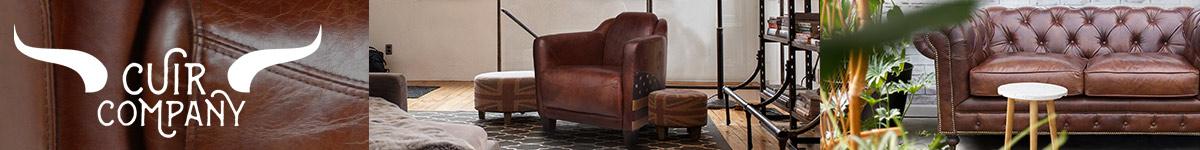 Cuir Company JP2B Mobilier en cuir, bois et métal, design industriel vintage