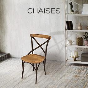 chaises de repas bistrot en métal et bois