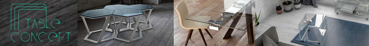 Table Concept mobilier design et moderne en verre, céramique et acier.
