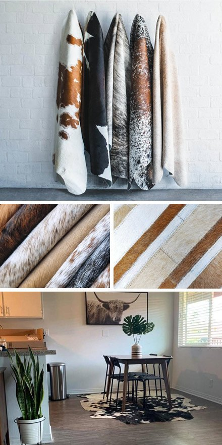 Peaux de vaches et tapis en cuir naturel